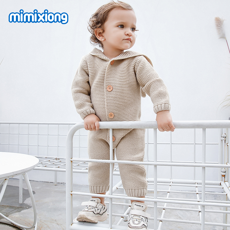 Baby   Rompers   Winter Warm Clothes for Newborn Infantil Bebes Girls Knitted Overalls Hoody Long Sleeve Children Boys Outfits 0-18M
