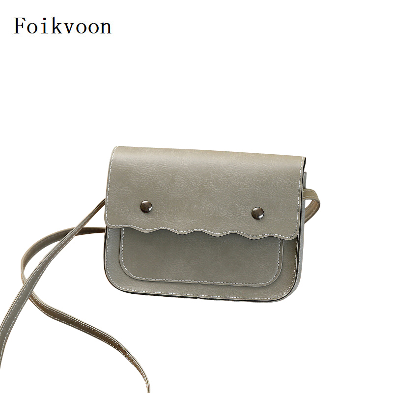 Foikvoon Messenger Bag Women PU Leather Retro Female Small Square Bag Simple Casual Ladies Solid Color Bags