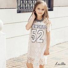 Дети Лета Девушки Белые Девушки Кружевном Платье 2016 Спорт Стиль номер Модели Платья для Девочек Одежда 11 Лет Дети 10 лет