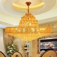 LED Modern Altın K9 Kristal Avize Büyük Yuvarlak Altın Kristal Avizeler Işıkları Fikstür Otel Kulübü Kristal Cilalar AC90V-260V