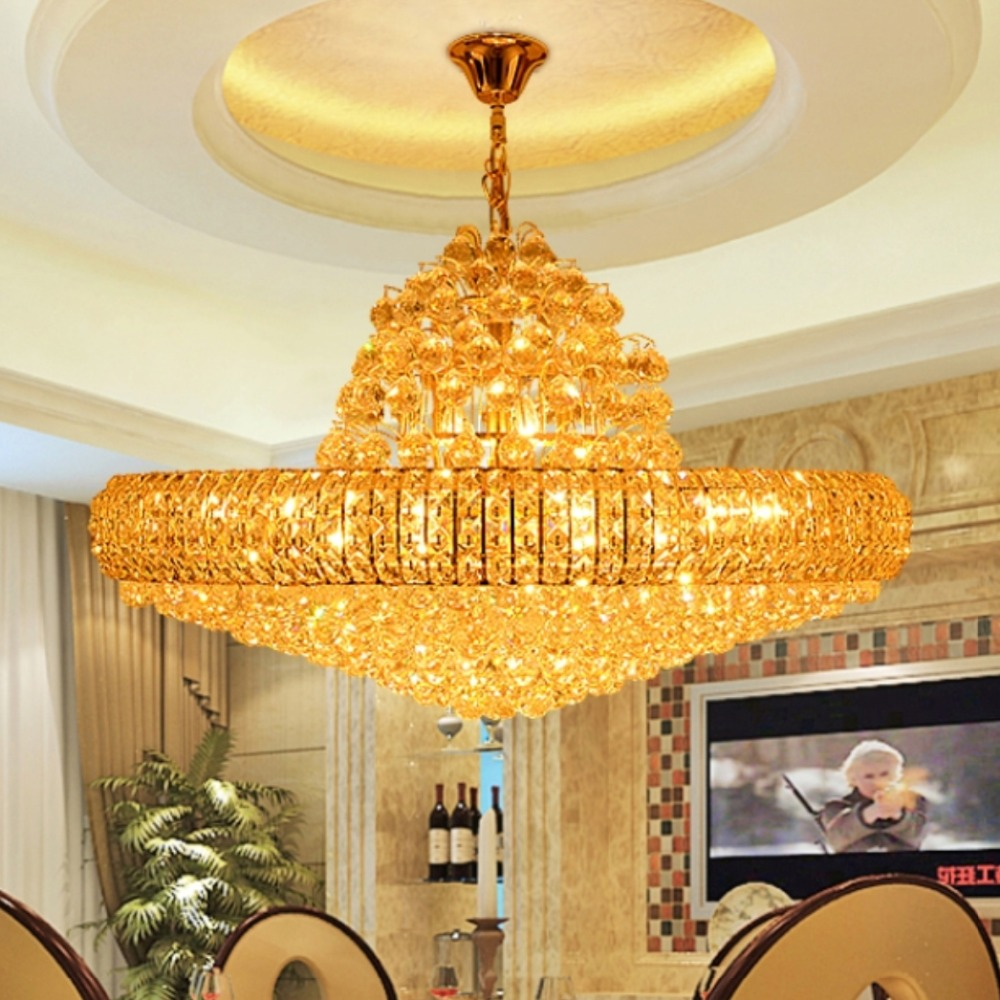 LED Modern Golden K9 Crystal Chandelier Big Round Gold Crystal - Indoor Lighting