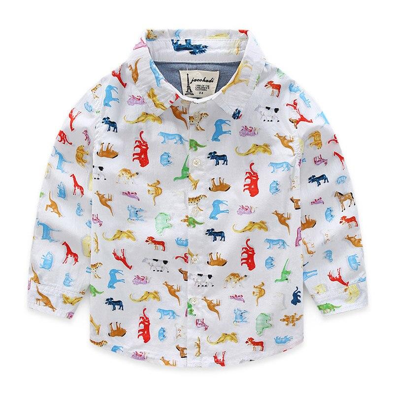 2018 Nové módní jaro a léto dětské chlapecké košile Bavlněný tisk s dlouhým rukávem halenka dětské oblečení dětské oblečení