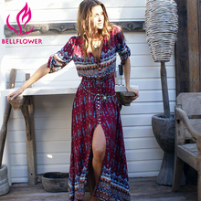 Women Dress Bohemian V Neck Sexy Dress Holiday Hippie Vestido Retro Floral Print Beach Dress Women Long Maxi Dresses Chic Brand