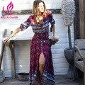 Mulheres dress bohemian v neck sexy dress hippie vestido de férias retro floral imprimir beach dress mulheres vestidos longos maxi chic marca