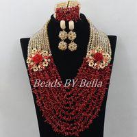 Luxe Red Coral Kralen Afrikaanse Kostuum Jewlery Set Hot Bridal Lace Sieraden Sets Nigeriaanse Kralen Ketting Gratis Verzending ABF357