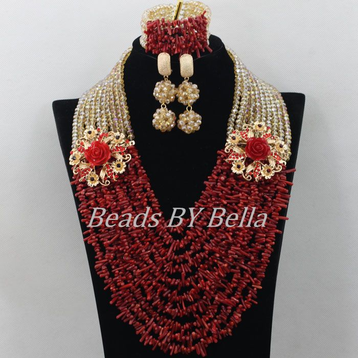 Luxury Red Coral Beads African Costume Jewlery Set Hot Bridal Lace Jewelry Sets Nigerian Beads Necklace Free Shipping ABF357