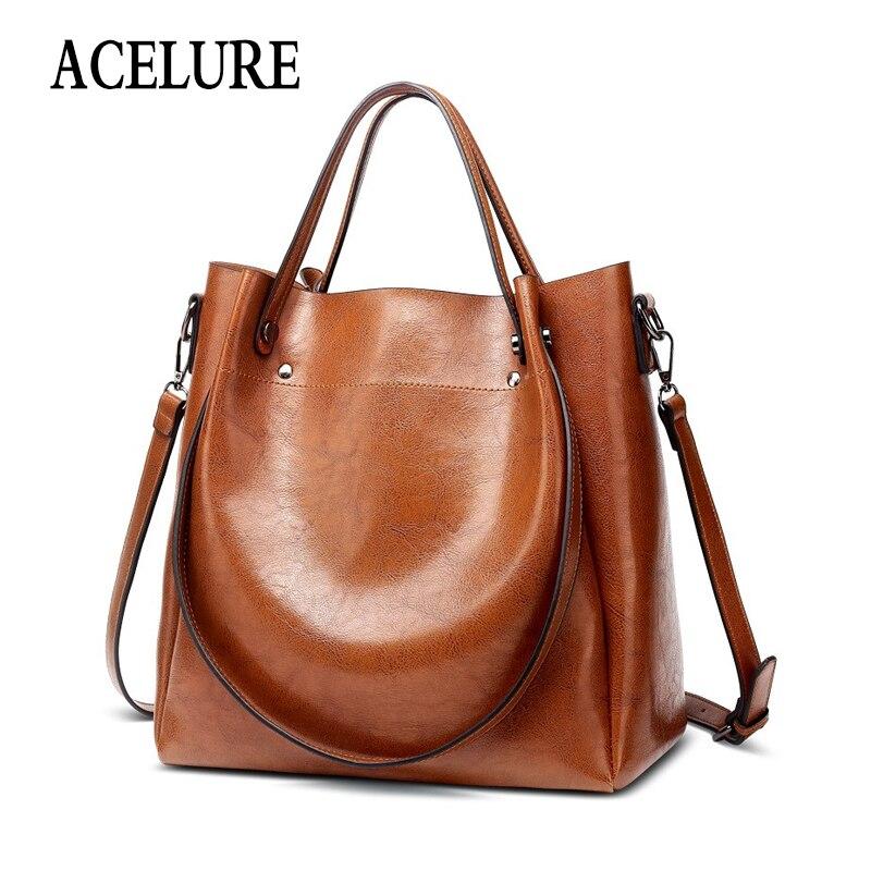 ACELURE Casual Large Capacity Women Tote Shoulder Bag PU Leather Ladies Bucket Handbag Messenger Bag Soft Shopping Crossbody Bag messenger bag