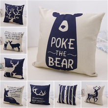 Nordic Fashion Cute Bear Cotton Linen Decorative Pillow Case Chair Waist Seat Square 45x45cm Cover Home Garden Textile