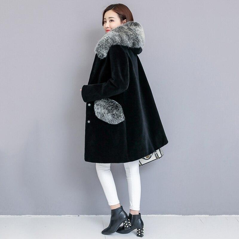 Vestes Manteaux Taille Des Survêtement À Épais Longue Tonte Faux Outwears Capuchon Plus Renard Moutons 1 Femmes Fourrure Hiver 2 Nouveau Chaud Noir La De 2018 7Cw0txq1On