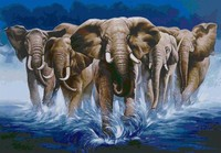 New 3D Diy Diamond Painting Elephant In The Sea Mosaic Embroidery Canvas Wall Sticker Handcraft Fabric