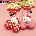 Hello Kitty Mini Squishies 12pcs/lot Rare Kawaii Squishies Wholesale Red Pink Bow 4cm Cute mobile phone Charm Dust plug 327&328