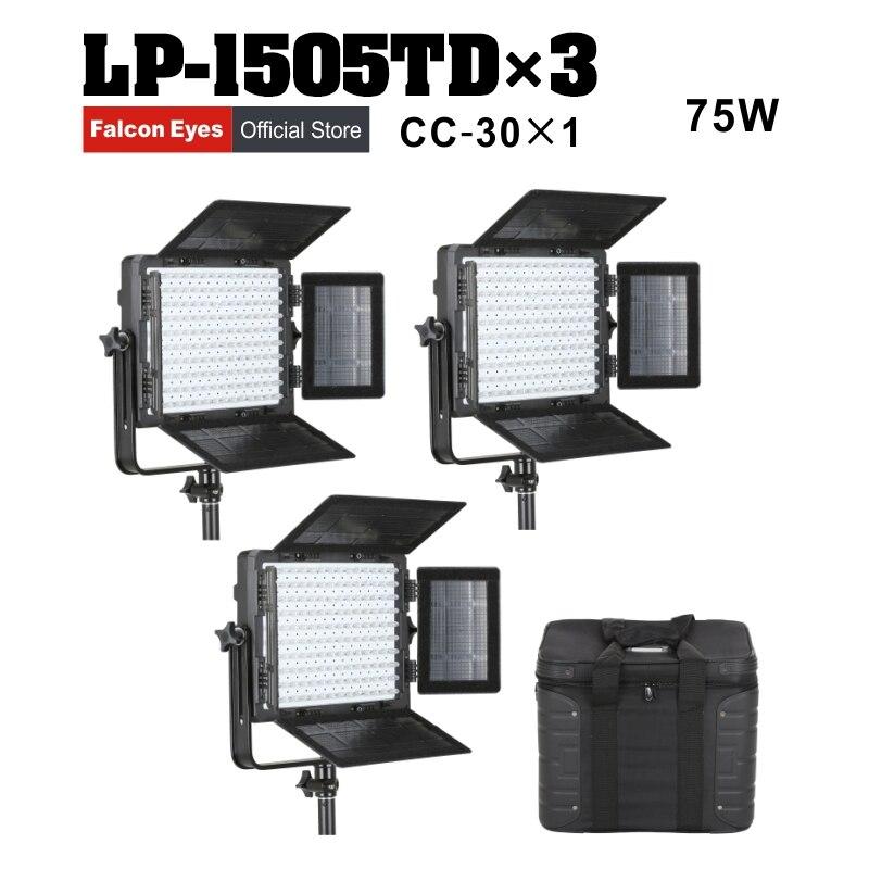 Falcon Olhos 3pcs Painel de LED Fotografia 75W Bi-color LED Luz de Vídeo Equipamento de Fotografia de Estúdio Iluminação Contínua LP-1505TD
