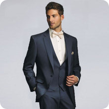 Navy Blue Men Suits for Wedding Suits Business Slim Fit Formal Prom Party Custom Blazer Tuxedos Best Man Terno Masculino 3Pieces цена