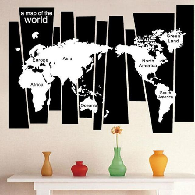 The wall sticker for living room bedroom kids room home decor black the wall sticker for living room bedroom kids room home decor black white world map removable gumiabroncs Image collections