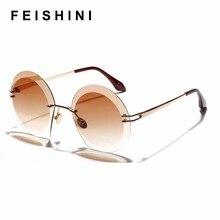 FEISHINI Fashion Green Gradient Sun glasses Brand Luxury Round Rimless Sunglasses Women Vintage Oversized Frame Classic Designer