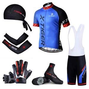 Большой комплект одежды X-Tiger для велоспорта, одежда для велоспорта, Быстросохнущий велосипедный костюм с коротким рукавом для MTB