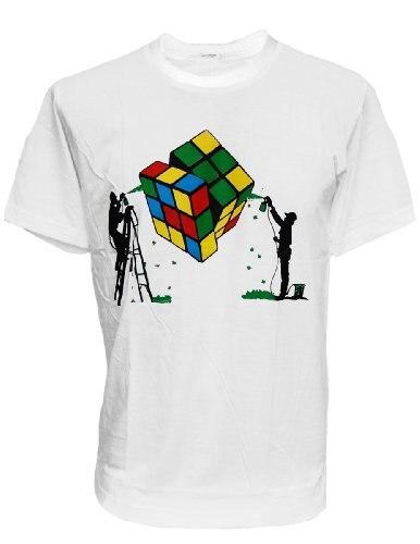 100% Cotton Print Mens Summer O-Neck High Quality T-Shirt RubikS Magic Cube Rubiks Fun Geek MenS T-Shirt