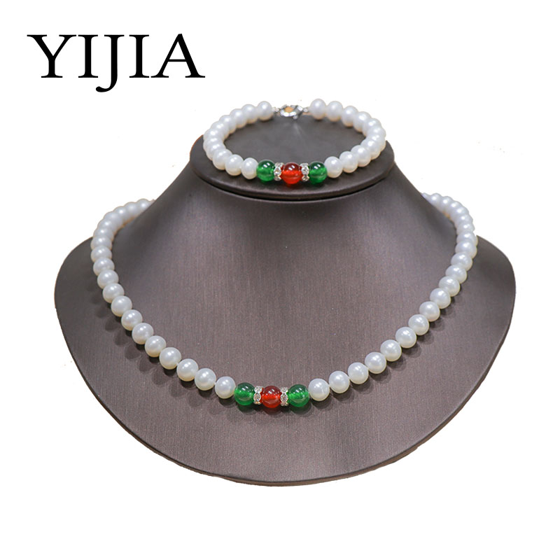 Здесь продается  YIJIA Pearl Necklace Sets Amber Agate Wedding Women Long Necklace 8mm Freshwater White Pearl Costume Jewelry Sets 925 Sliver   Ювелирные изделия и часы