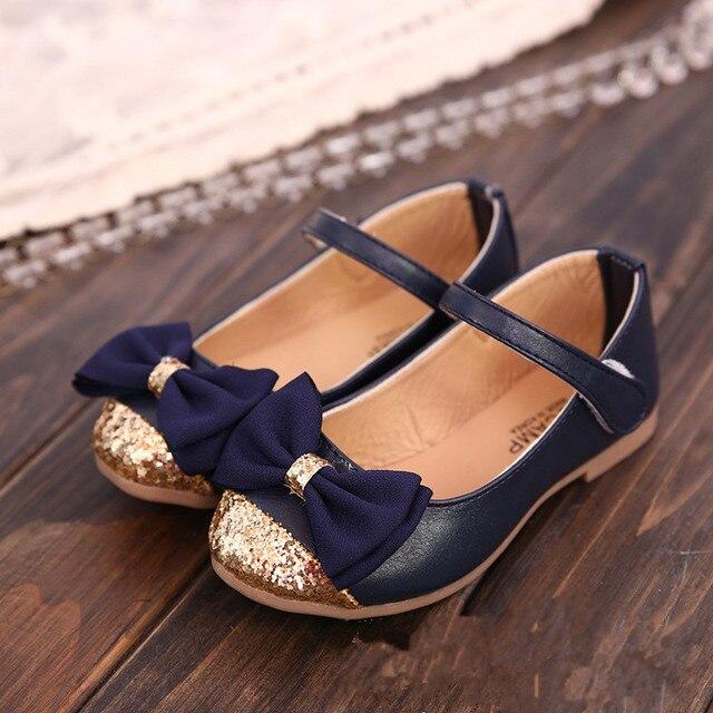 Girls Dress Shoes Glitter PU Bowtie