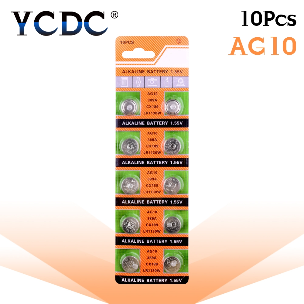 YCDC 10 Pcs 1.55V AG10 LR54 LR1130 L1131 389 189 Alkaline Batteries Button Cell Coin For Clocks Watches Calculators Computers