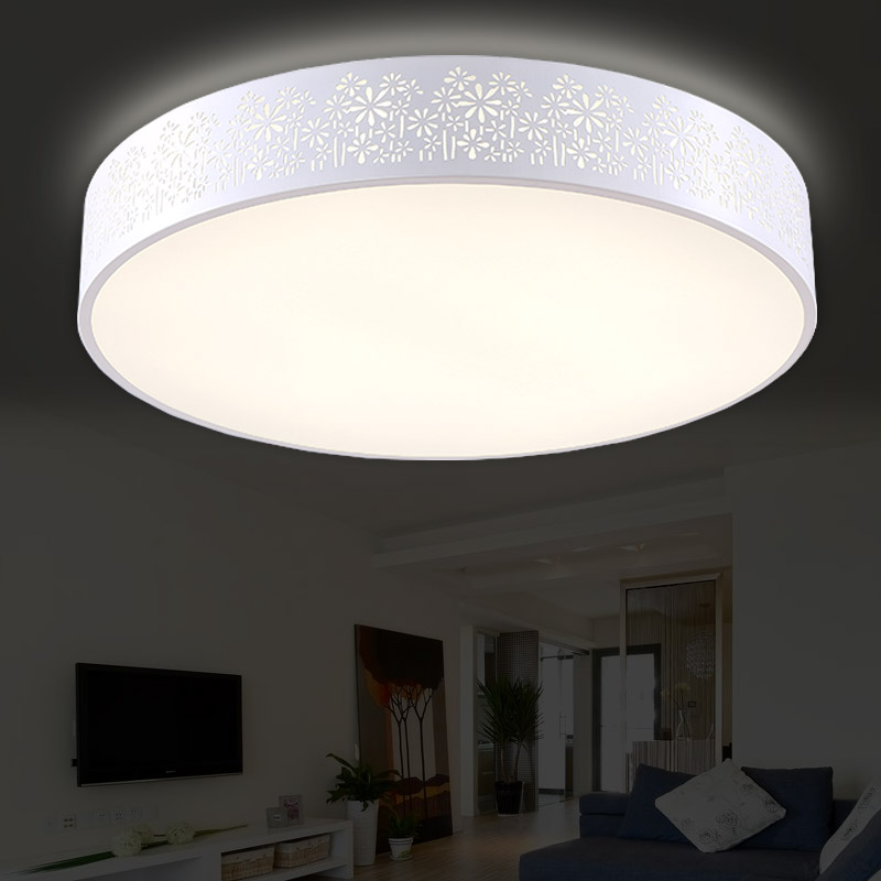 Brief Modern Personality Remote Control Circle Hollow Iron Ceiling Light  Fixture Home Deco Dining Room Arcylic LED Ceiling Lamp