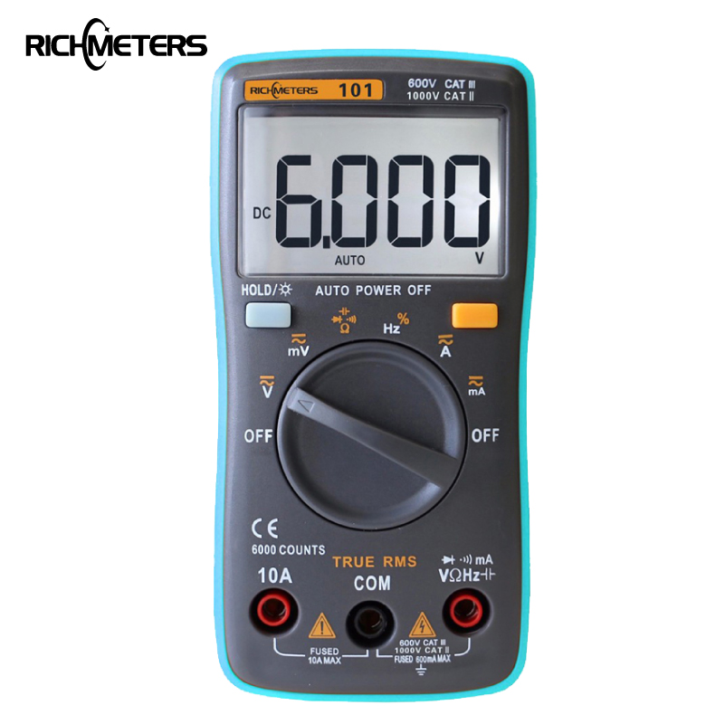 RM101 multímetro Digital, 6000 cuentas de Fondo AC/DC voltímetro amperímetro Ohm portátil medidor de tensión de RICHMETERS