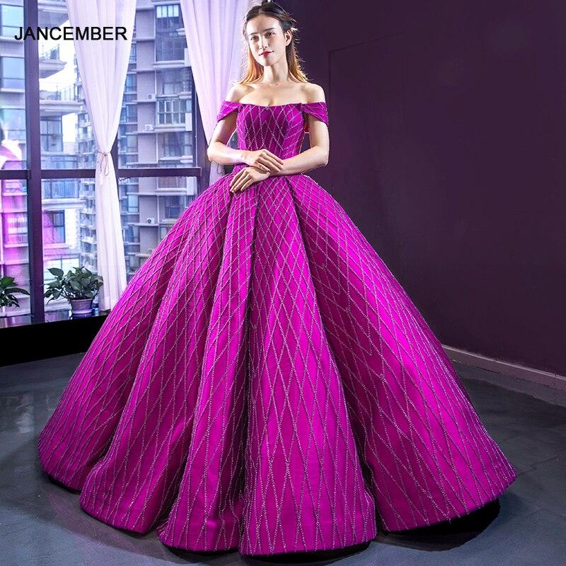 J66869 Jancember Elegant Evening Dress Off The Shoulder Ball Gown Lace Up Back Floor Length Beautiful Prom Dress New Design 2019