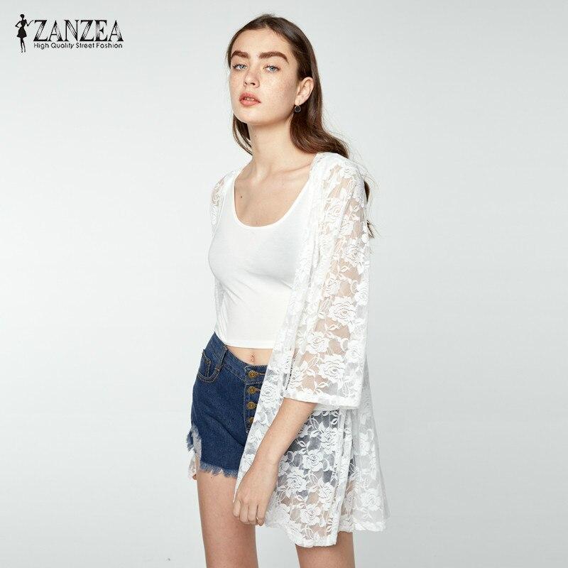 ZANZEA Kimono Women Elegant Cardigan 2018 Summer Lace Embroidery Sexy Hollow Out Solid   Blouses     Shirts   Beach Blusas Femininas