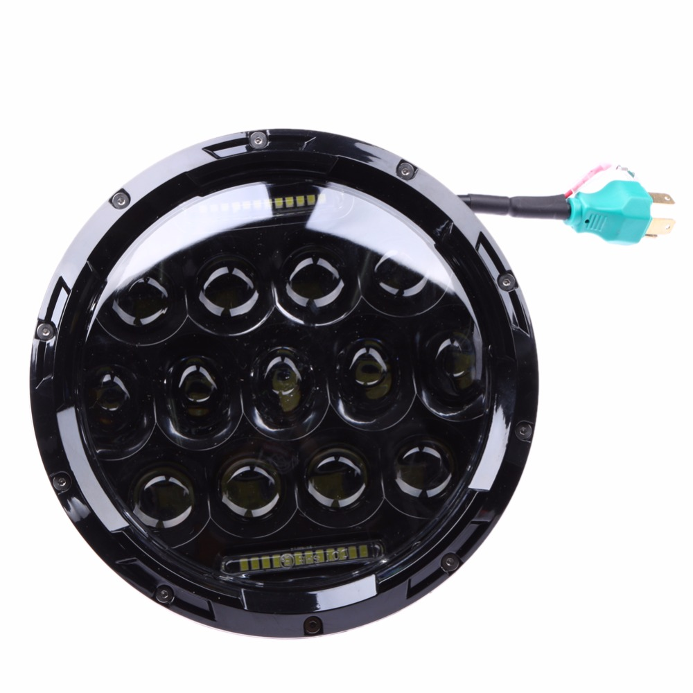 7 75W LED Round Headlight Hi/Lo Beam DRL for Jeep Wrangler JK Auto Car Light-emitting Diode Angel Eye Headlamp Light Lamp Bulbs 1pc round 75w 7 inch led headlight motorcycle for harley with drl hi lo beam 7 head lamp for led jeep wrangler headlights