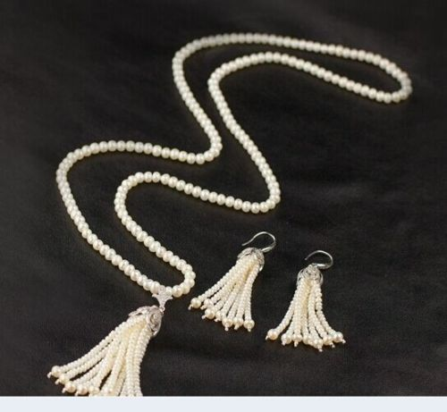 100% Selling full Fashion Natual 8-9mm White Round Freshwater Pearl With Tassel Necklace&Earrings100% Selling full Fashion Natual 8-9mm White Round Freshwater Pearl With Tassel Necklace&Earrings