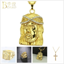 BOAKO Cross Jesus Pendant Necklace Men/Women Statement Bling Zircon Gold Chain Long Hiphop Punk colar Z5