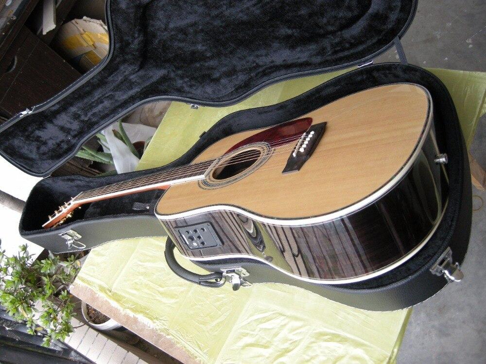 Livraison Gratuite Meilleur Prix acoustique Dreadnought guitare naturel épicéa Massif guitare acoustique avec EQ et étui