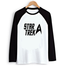 Loose Style Star Trek Letters Logo Women PVC Letter Print T shirt Female Raglan Long Sleeve