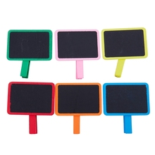 12pcs Wooden Colorful Chalkboard Clips Message Board Sign Blackboard for Party Wedding Birthday Table Decorations