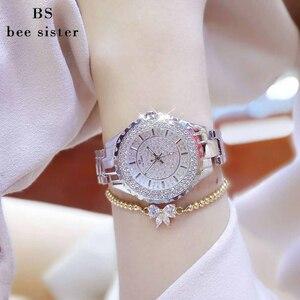 Image 5 - Женские кварцевые часы BS, модные роскошные женские наручные часы с кристаллами и стразами, золотые часы браслет