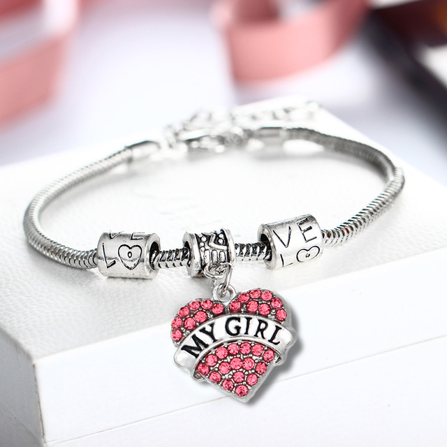 Pink Crystal Heart My Girl Charms Bracelets Femme Girlfriend Gifts Jewelry Family Women Girls Necklaces Birthday Xmas Party Gift