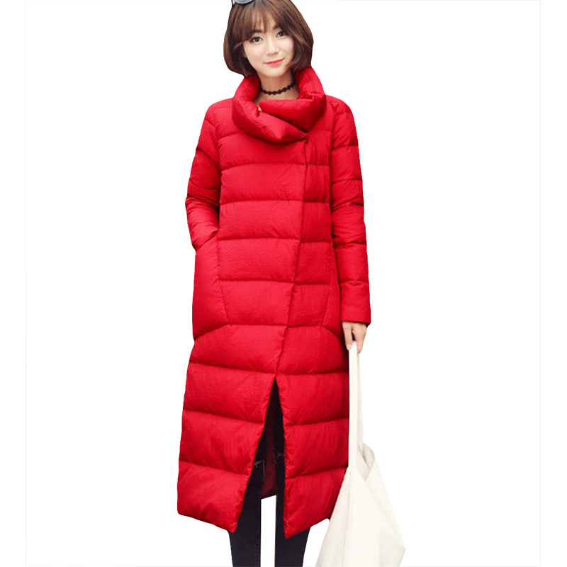 high Quality 2017 autumn winter female long 90% white duck down coat female slim down coat with a hood women down jackets YP0602