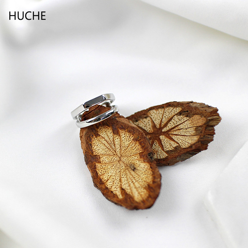 HUCHE 100% Pure 925 Sterling Silver Jewelry Open Rings for Women Double Layers Simple Finger Ringen Ladies Jewelry HC050