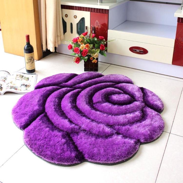 Объемный ворсистый круглый ковер с объемным цветком, коврики для дома, гостиной, свадьбы, тапеты, ворсистые ковры, толстые круглые ковры с цветочным рисунком - Цвет: single purple