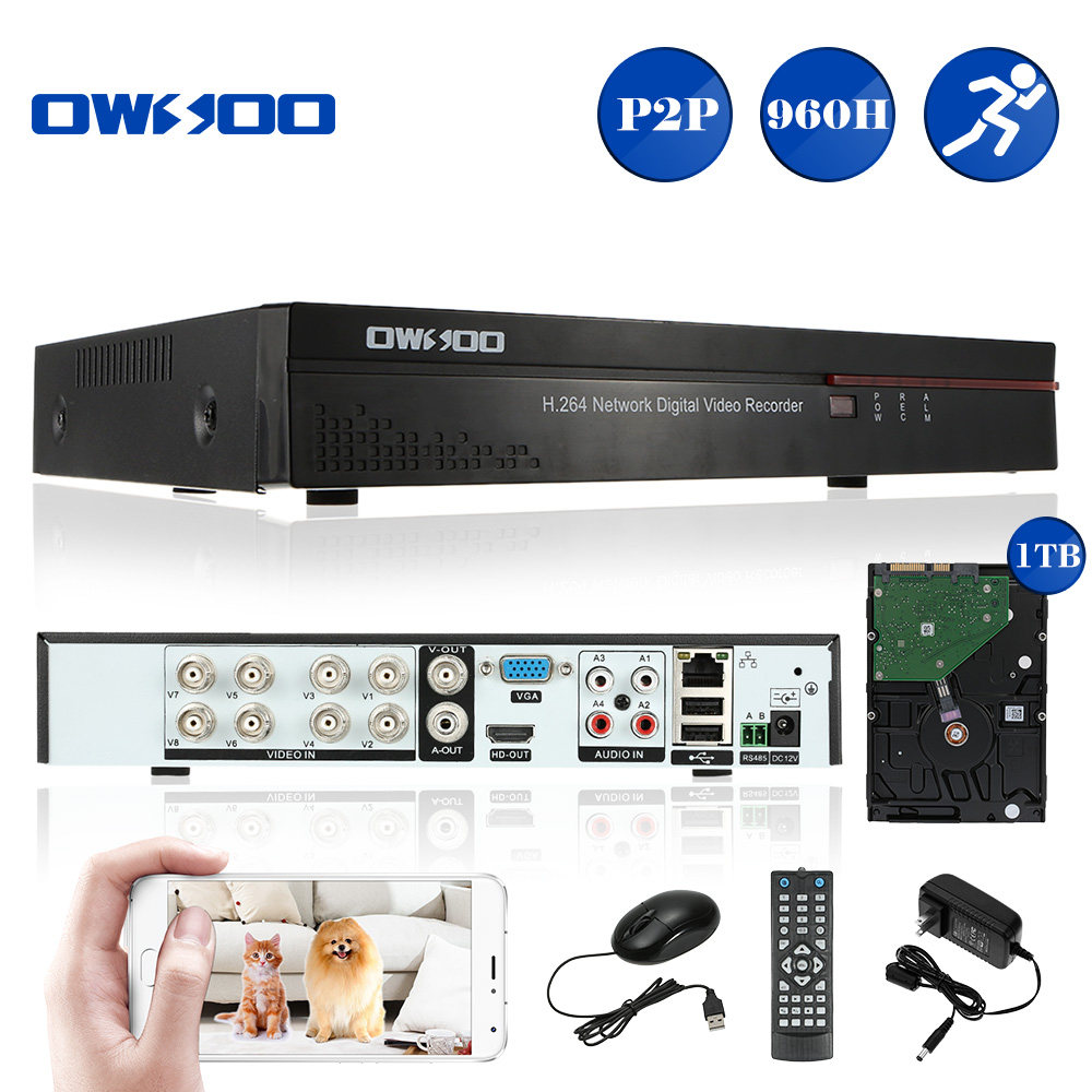 1 * 8CH Full 960H/D1 DVR Video Recorder (1TB HDD) 1 * EU Plug Power Adapter  1 * USB Mouse 1 * Remote Controller (2*AAA battery not included)