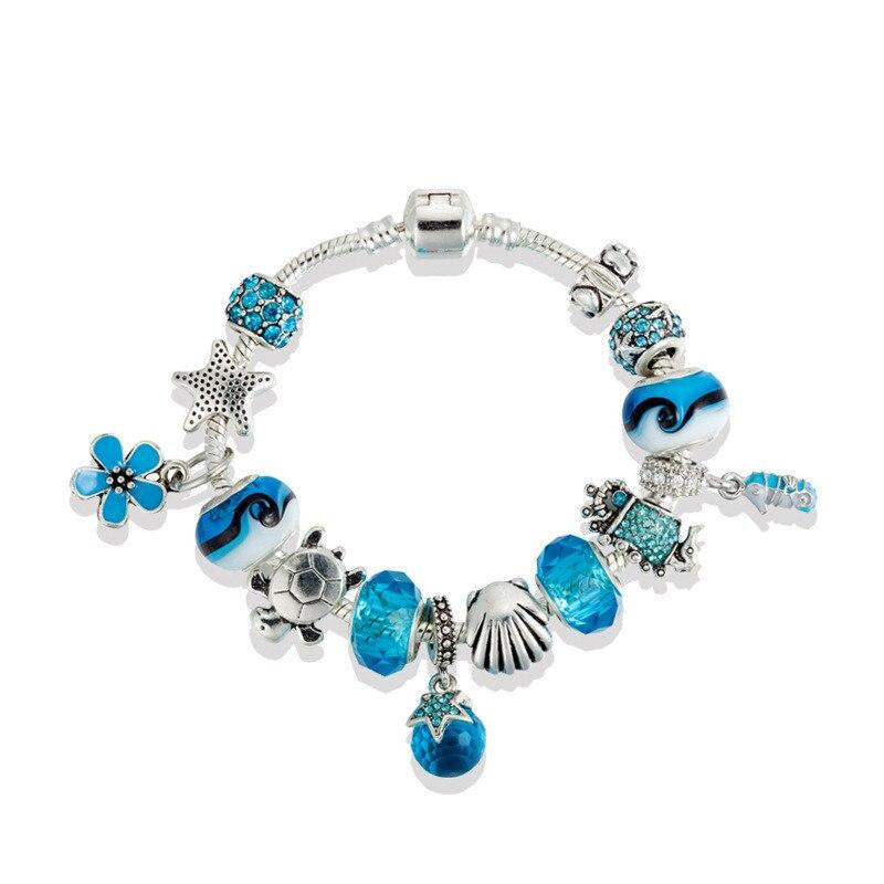 Ocean Style Turtles Charm Bracelet & Bangles AAAA Glass Beads Cscallop Cherry Starfish Seahorse Bracelets DIY Fashion Jewelry