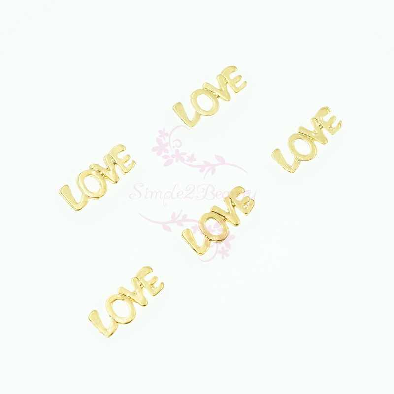 100 PZ/LOTTO Love Letter Design Placcato Oro Della Lega di Fascini di San Valentino 3D Arte Del Chiodo Del Manicure Artigianato Disegno Cassa Del Telefono di Bellezza FAI DA TE Decor