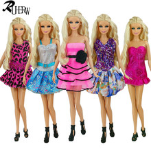 5 Pcs / lot New Beautiful Handmade Party Clothes Fashion Dress for Noble Barbie Doll Free shipping(China)