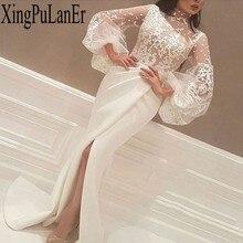 Elegant Long White Evening Dresses Muslim Mermaid Lace High Collar Sleeves Slit Islamic Dubai Saudi Arabic