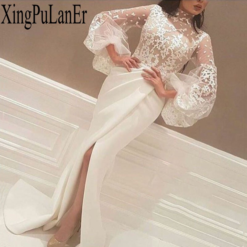 Elegant Long White   Evening     Dresses   White Muslim Mermaid Lace High Collar Long Sleeves Lace Slit Islamic Dubai Saudi Arabic Long