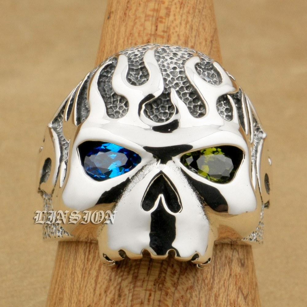 US Size 8 ~ 15 Blue + Green CZ Eyes 925 Sterling Silver Fire Skull Mens Boys Biker Rock Punk Ring 8D406 green cz eye 925 sterling silver skull ring mens biker punk style 8v306a us 8 15