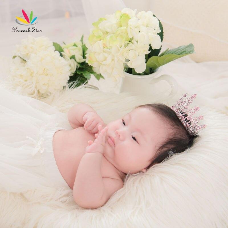 Павлин Звезда розовый Новорожденный ребенок Стразы Полный Круг Круглый Мини-тиара Корона CT1741