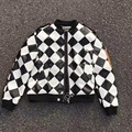 OFF WHITE Diamond Thicke Faux Leather Bomber Jackets Men Women Fashion Brand Coats PU Biker Overcoats Amazing Ma1 Hombre outwear