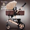 Tianrui 8 brindes dobrável carrinho de bebê carrinho de criança carrinho de bebé carrinho de bebê portátil de alta paisagem recém se sentar e deitar 4 rodas