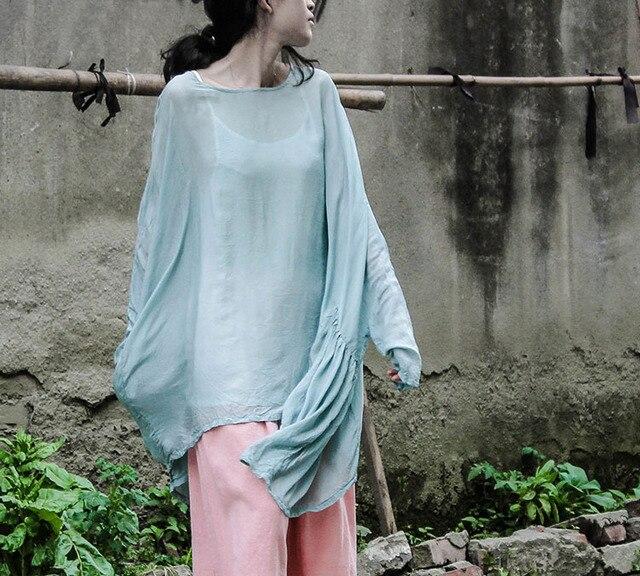 Original Ladies Tops fashion summer women blouses shirts causal solid Bat sleeve silk soft irregular women blouse loose blusas